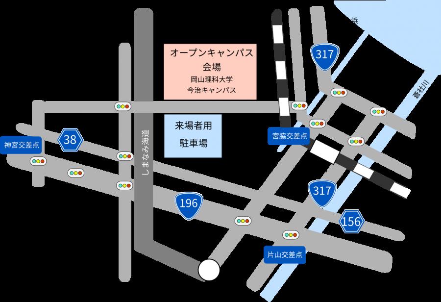 来場者用駐車場の地図