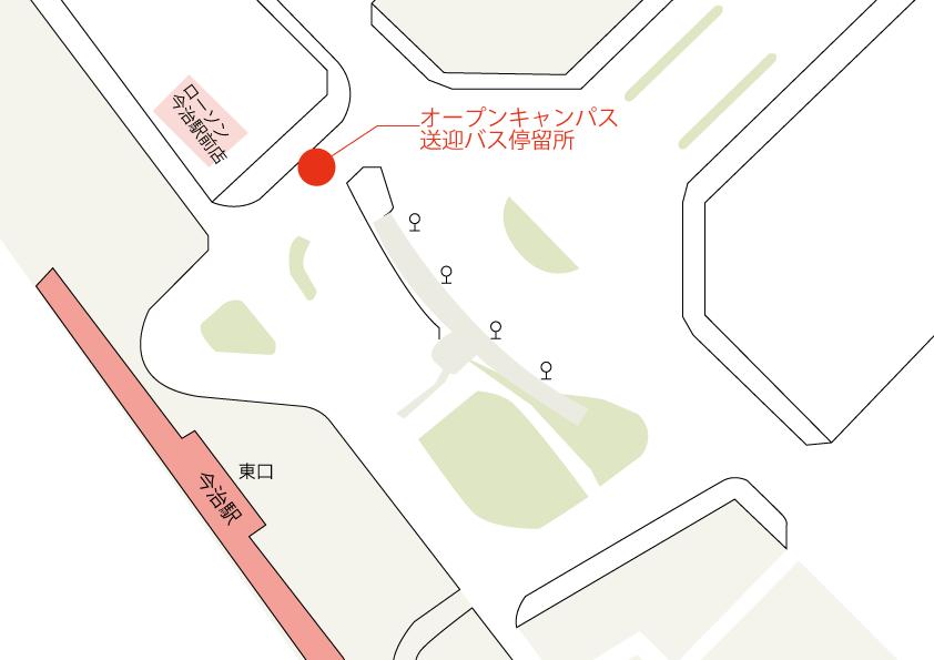 今治駅のシャトルバスバス停の地図